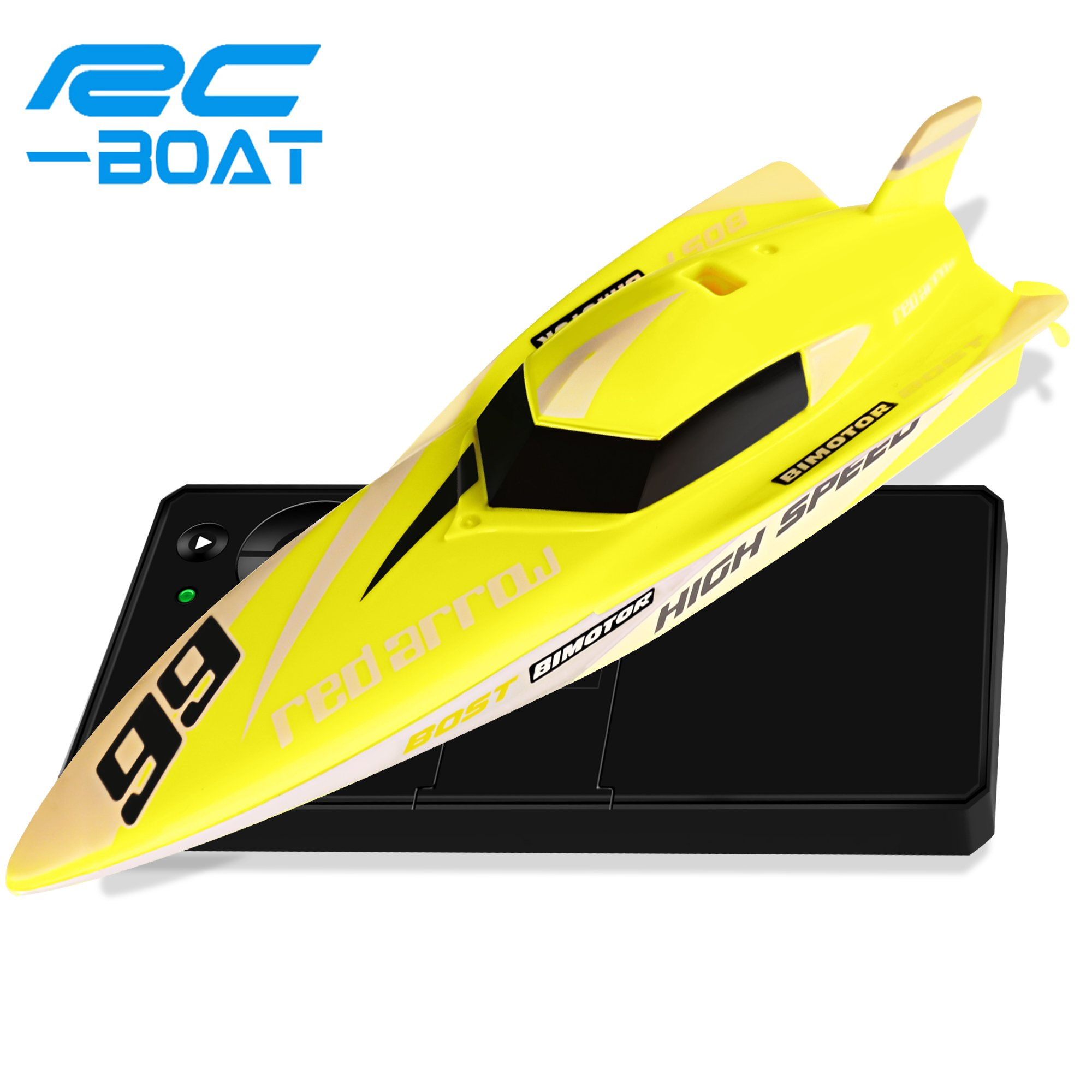 RC Boat Toys, HQQN Remote Control Boat for Pools and Lakes, 2.4GHz 4 Channels RC Speed Boats with Remote Controls with for Adults & Kids