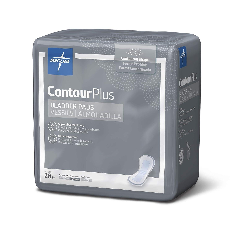 Medline Contour Plus Bladder Control Incontinence Pads, Maximum Absorbency,  6 5