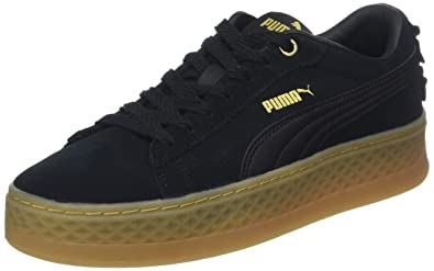 5600b3537ecd Puma Women s Smash Platform Frill Low-Top Sneakers Black Team Gold