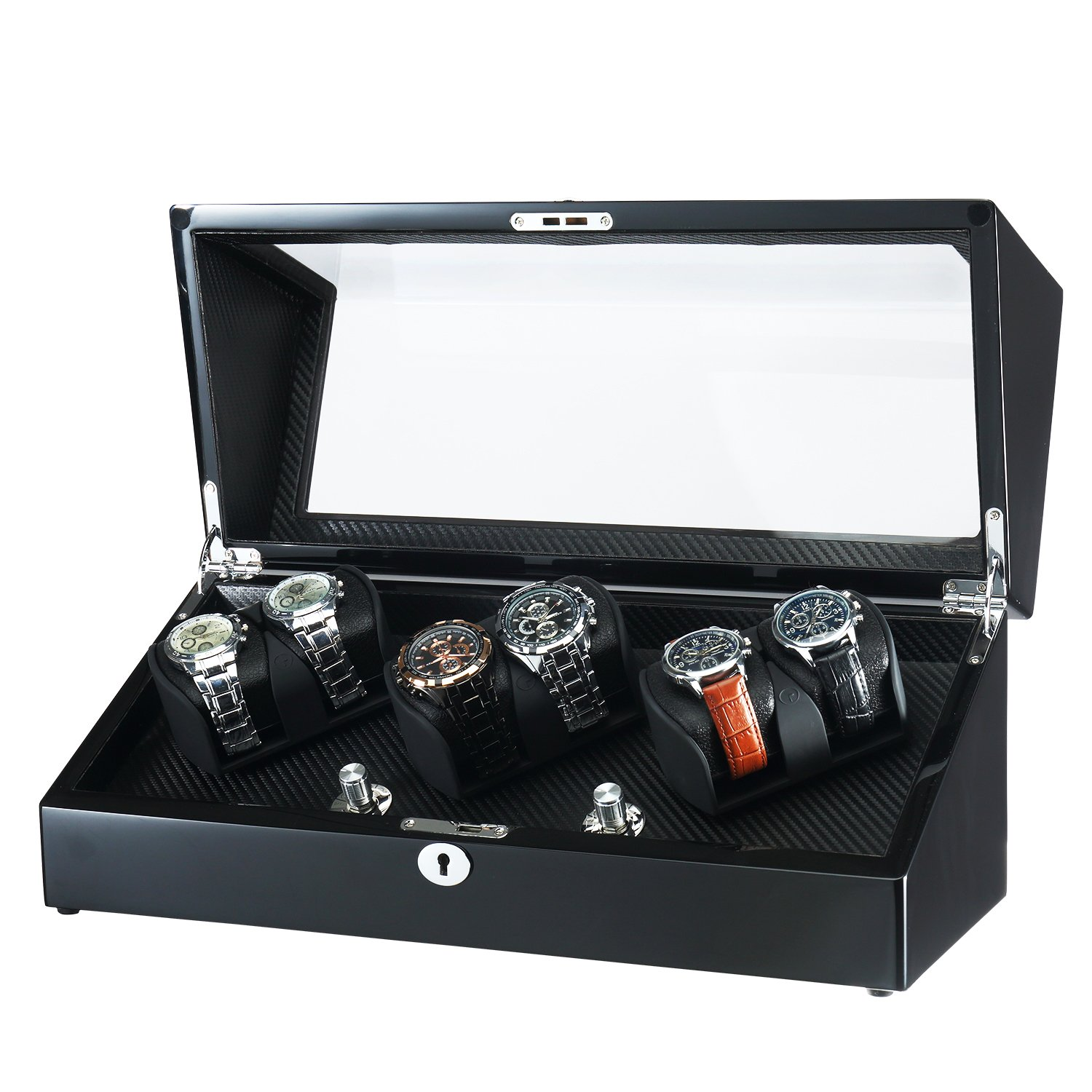 OLYMBROS Wooden 3 Rotors Automatic Watch Winder for 6 Watches with LED Light (WW-8118-BB-BP)