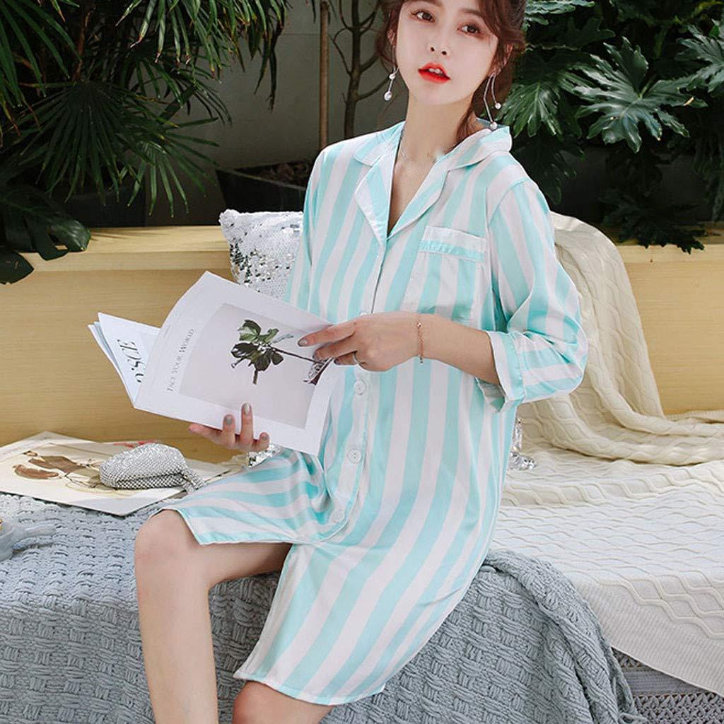 Lialbert Pigiama da Donna Seta Stampa a Righe Raso Camicia da Notte Cardigan Manica da Sette Quarti Pigiama Sciolto Stile Classico
