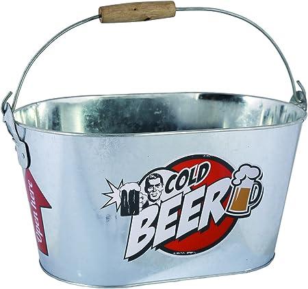 Oferta amazon: ootb Cubo de Metal Ovalado, Cold Beer, con asa y Manilla de Madera, Aluminio, Plateado, 26 x 13 x 4 cm