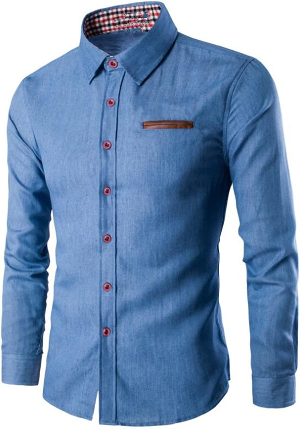 SDHEIJKY Male Fashion Pocket Fight Leather Long Sleeve Slim Fit Casual Dress Shirts