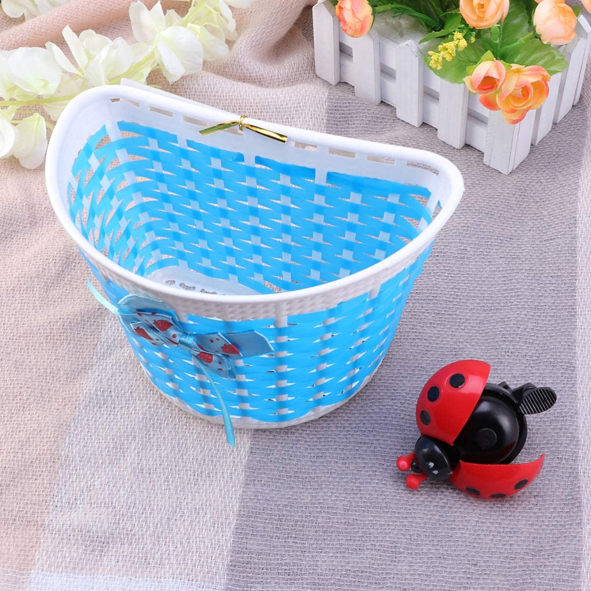 BESPORTBLE Bicycle Scooter Basket Kids Children Bike Basket Plastic Knitted Bow Knot Front Front Basket with Bike Bells Black