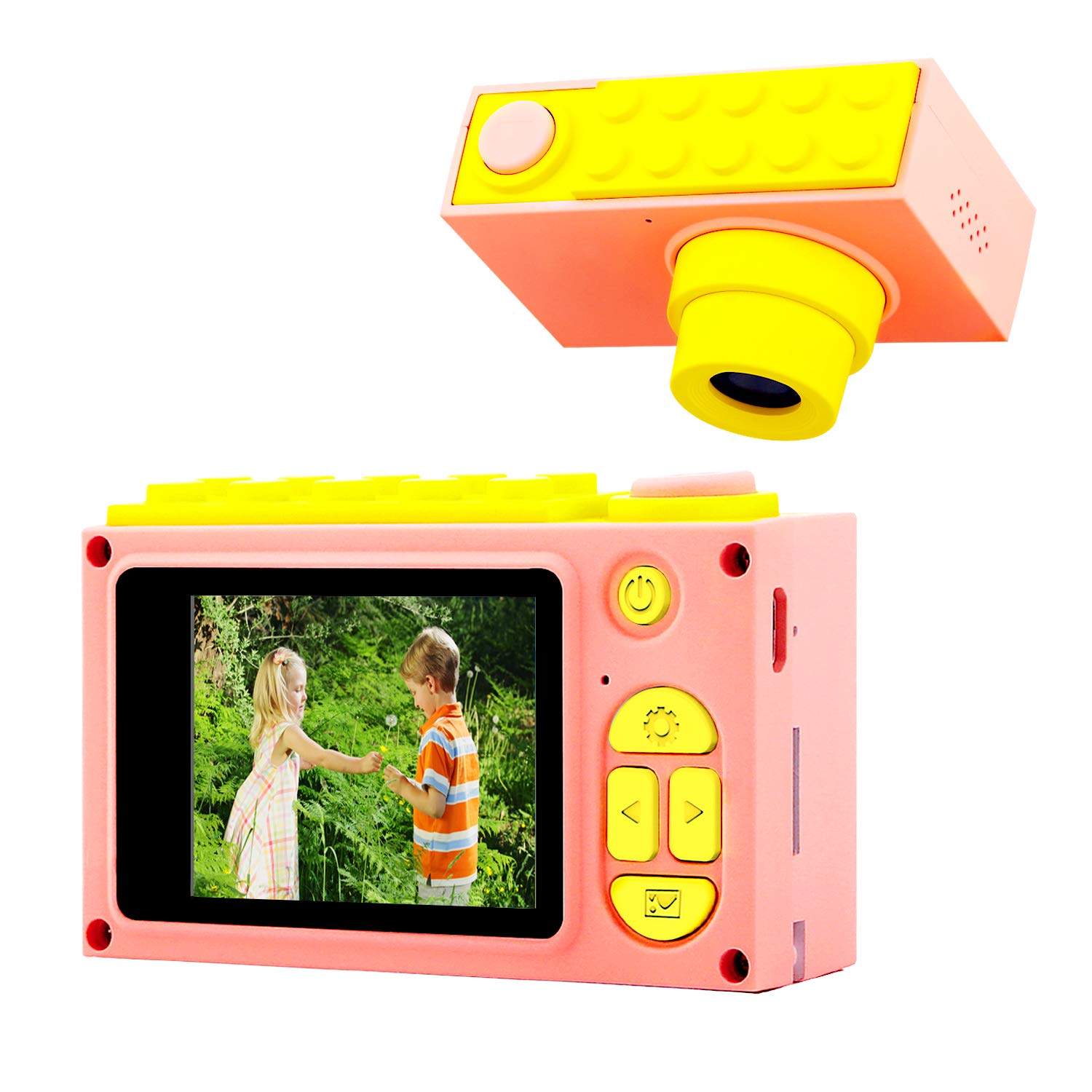ShinePick Kids Digital Camera Mini 2 Inch Screen Children's Camera 8MP HD Digital Camera with Silicone Soft Cover & 256M Micro SD Card(Pink)