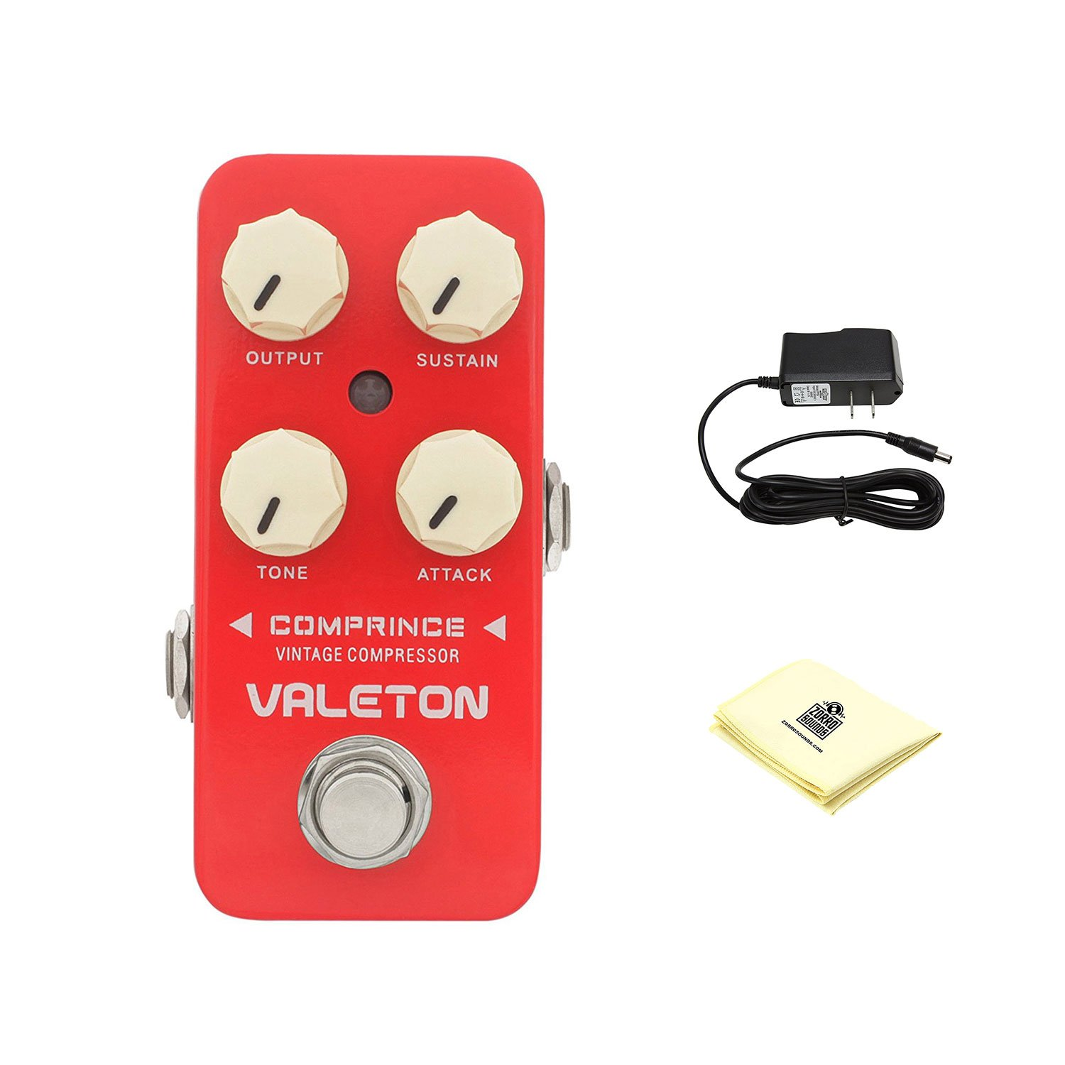 Valeton CCS-1 Comprince Vintage Compressor Guitar Effect Pedal with Power Supply and Zorro Sounds Custom Designed Instrument Cloth