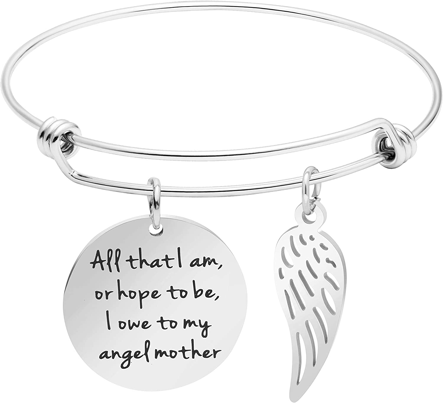 All That I am or Hope to be I owe to My Angel Mother Mom Gift from Daughter or Son Quote Jewelry Mantra Cuff Bangle Bracelet
