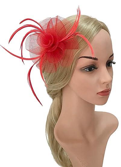 caa09c3b3fc9c Z&X Women Feather Flower Fascinator Hat Hair Clip Brooch Cocktail Wedding