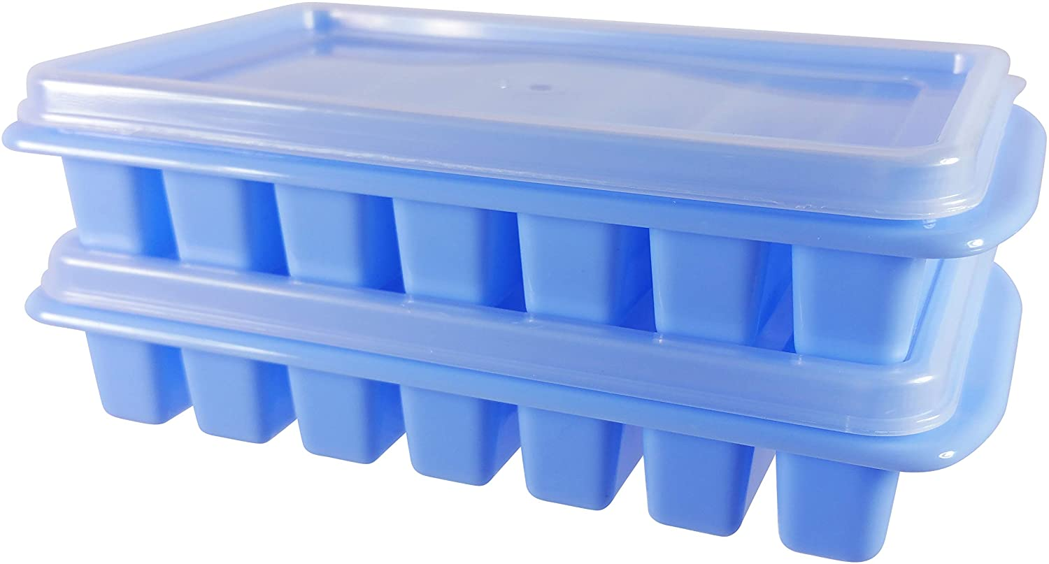 2 Mini Ice Cube Trays with Lids - Creates Perfect Ice for Water Bottles - Great Size for Small Dorm Freezers, Campers and RVs with No Spill Covers by Bluamour (Blue)