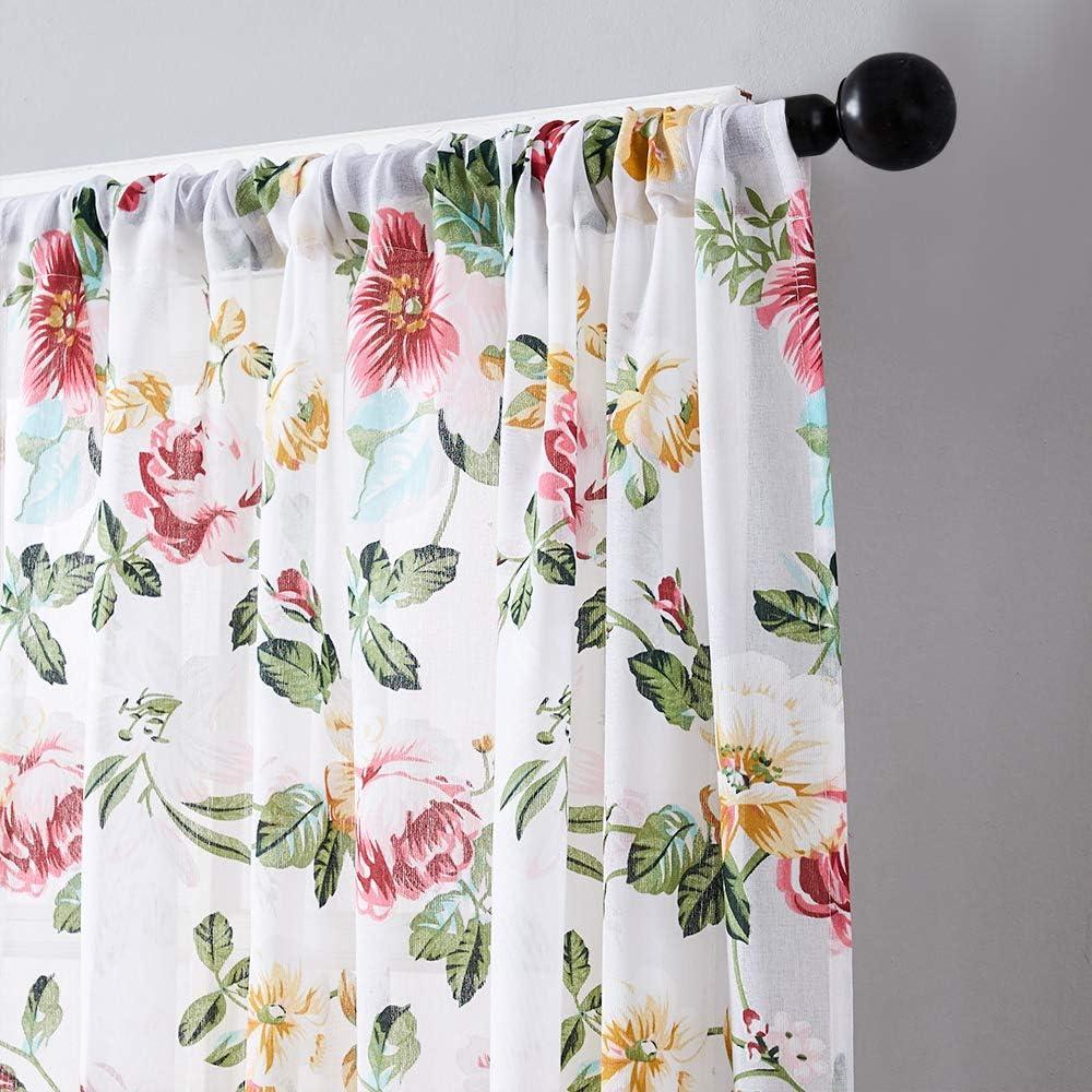 Tier Curtains 24 inch Length Sheer Flower Leaf Printed Kitchen Bathroom Cotton Blend Tiers Window Treatment Aqua Blue Floral Print Sheer Cafe Curtains Rod Pocket Set 2 Panels