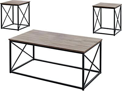 Monarch Specialties I 7950P Table Set, One Size, Dark Taupe