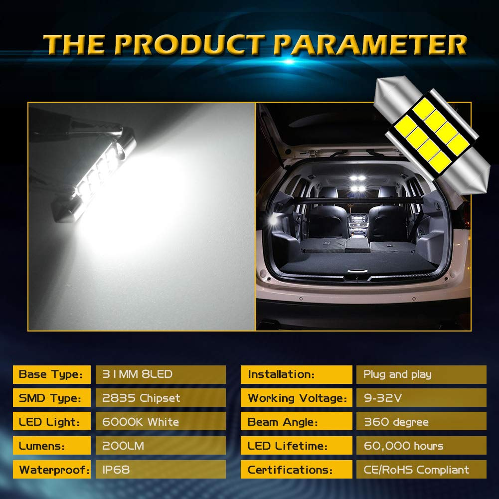 KaTur Extremely Bright 194 LED Bulbs 3030 Chipset T10 168 175 192 2825 Wedge Car Interior Dome Map Door Courtesy License Plate Lights 6000K Amber 12V Pack of 10