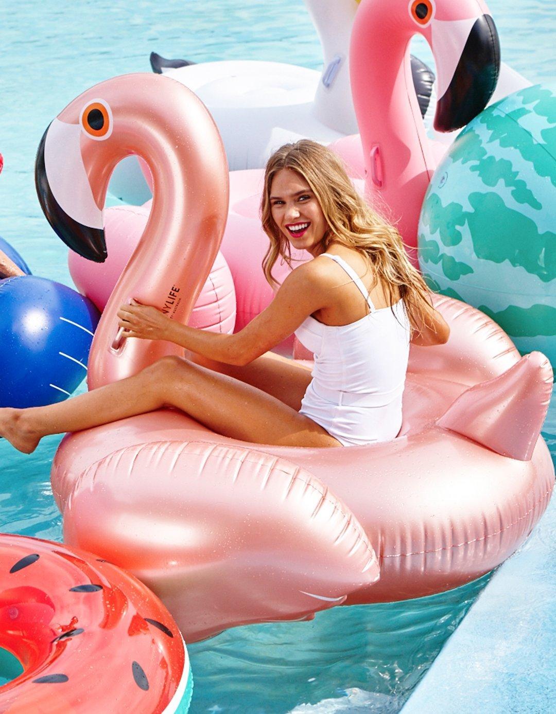 Amazon.com: Sunnylife Luxury Adult Inflatable Pool Float Ride On Beach Toy    Rose Gold Flamingo: Toys U0026 Games