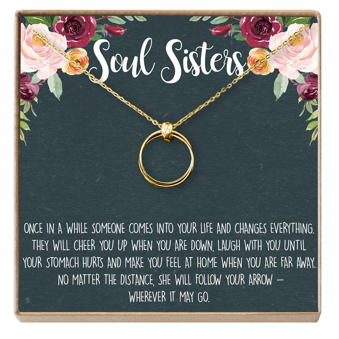 amazoncom dear ava necklace soul sisters bff necklace jewelry long distance quotes friends forever 2 linked circles gold plated base na jewelry