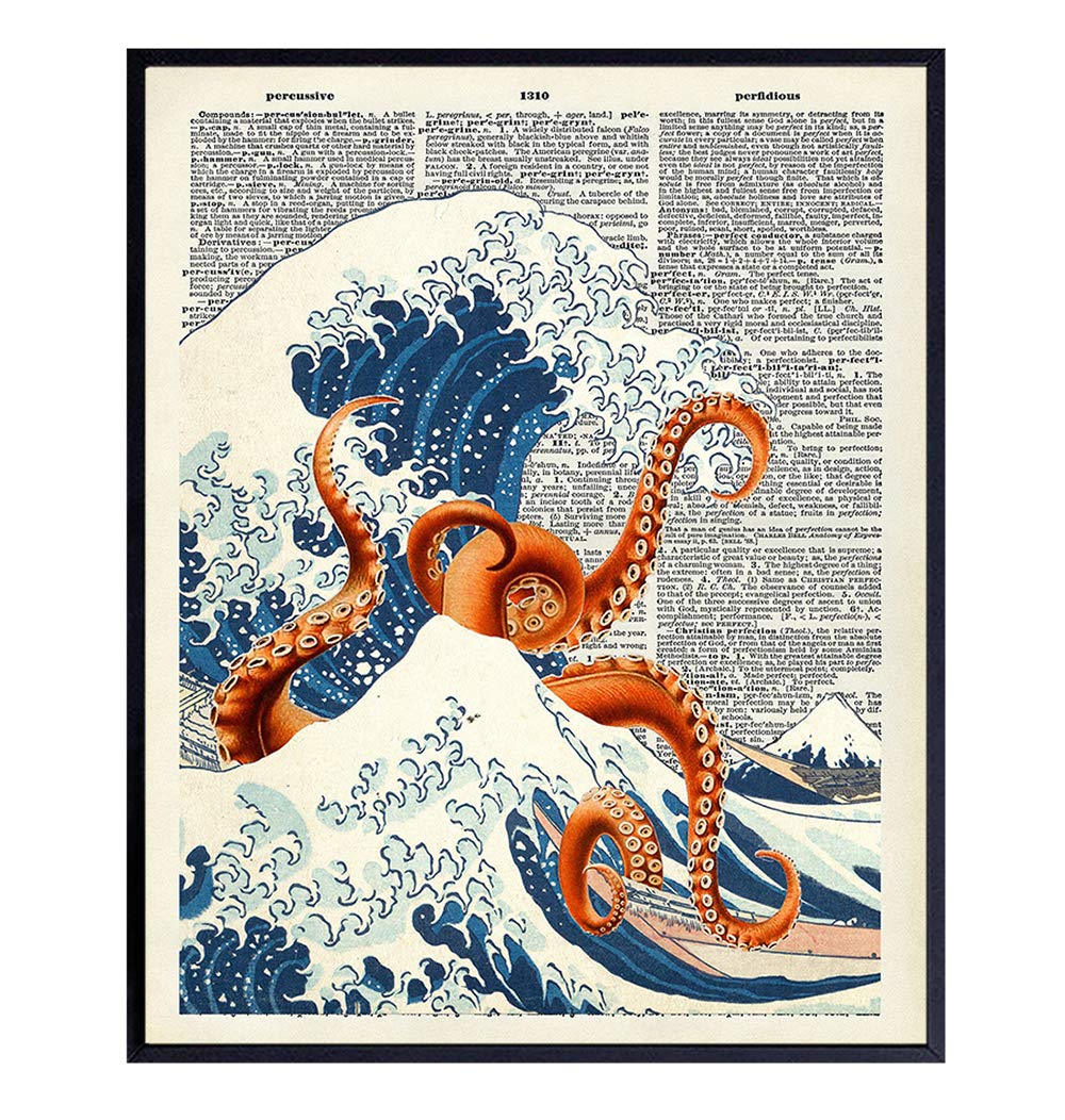 Japanese Kanagawa Wave Octopus Dictionary Wall Art Decor - Retro 8x10 Upcycled Home Decoration for Office, Apartment, Beach House, Living Room, Bedroom, Bathroom - Gift for Steampunk, Goth, Ocean Fans