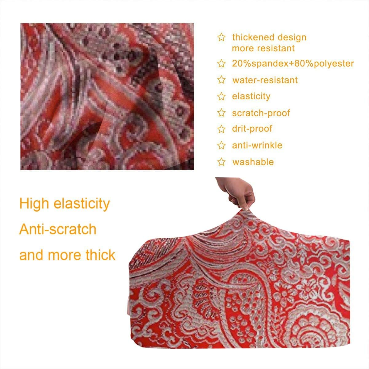 JHNDKJS Red Silver Travel Luggage Cover Baggage Suitcase Protector Fit for 12-18 Inch Luggage