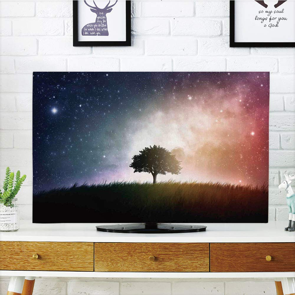 LCD TV Cover Lovely,Space,Single Tree in Field of Meadow Valley with Stars Universe Spiritual Display Print,Magenta Blue,Diversified Design Compatible 60'' TV