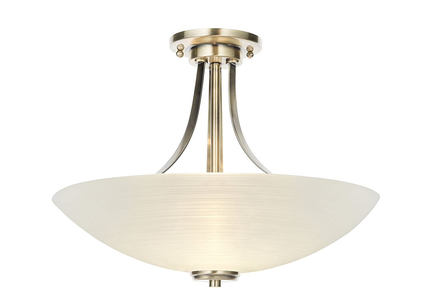 Hilton 3 light antique brass and glass semi flush ceiling light hilton 3 light antique brass and glass semi flush ceiling light fitting amazon lighting aloadofball Images