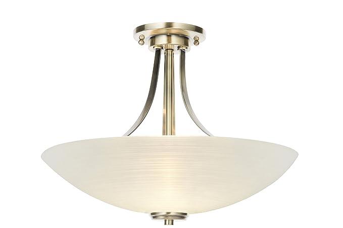 Lámpara con 3 bombillas semiplafón, diseño antiguo de latón ...