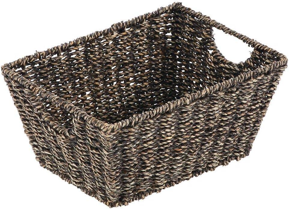 dormitorio mDesign Juego de 2 cestas trenzadas con asas negro ba/ño o pasillo Organizador de estantes para sal/ón Pr/ácticas cestas organizadoras de junco marino para art/ículos del hogar