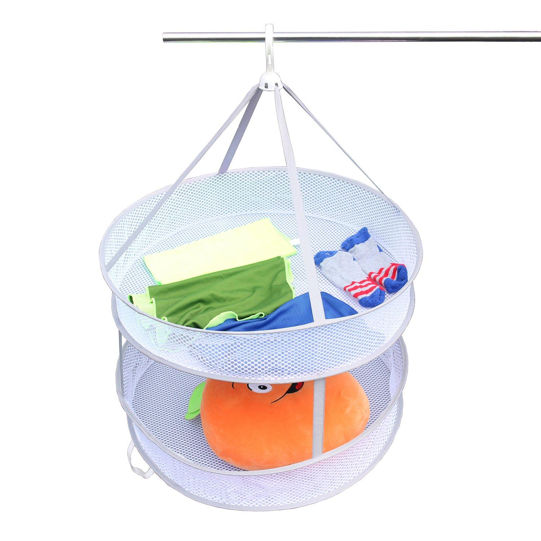 ASANMU Fish Mesh Hanging Drying Net Food Herb Dehydrator 2-Tier Portable Folded Mesh Hydroponic Drying Rack Net