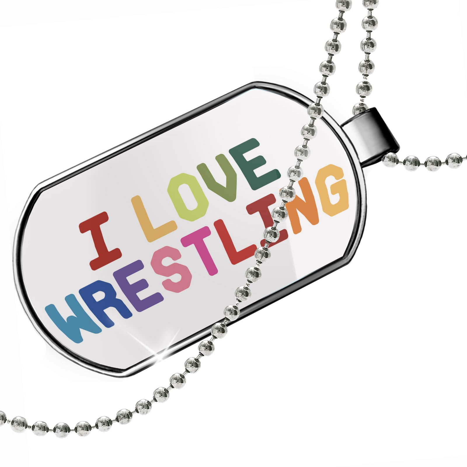 Dogtag I Love Wrestling,Colorful Dog tags necklace - Neonblond