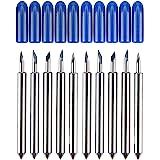 HQMaster 60 Degree Tungsten Steel Lettering Blade Vinyl Cutter Blades for Roland Cutting Plotter, Blue Cap Pack Of 10