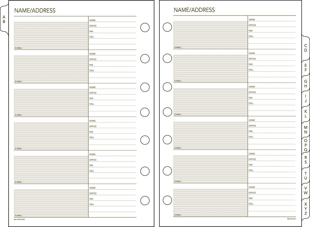 Day Runner Undated Planner Telephone and Address A–Z Tabs, 5.5 x 8.5 Inches (021-0100)