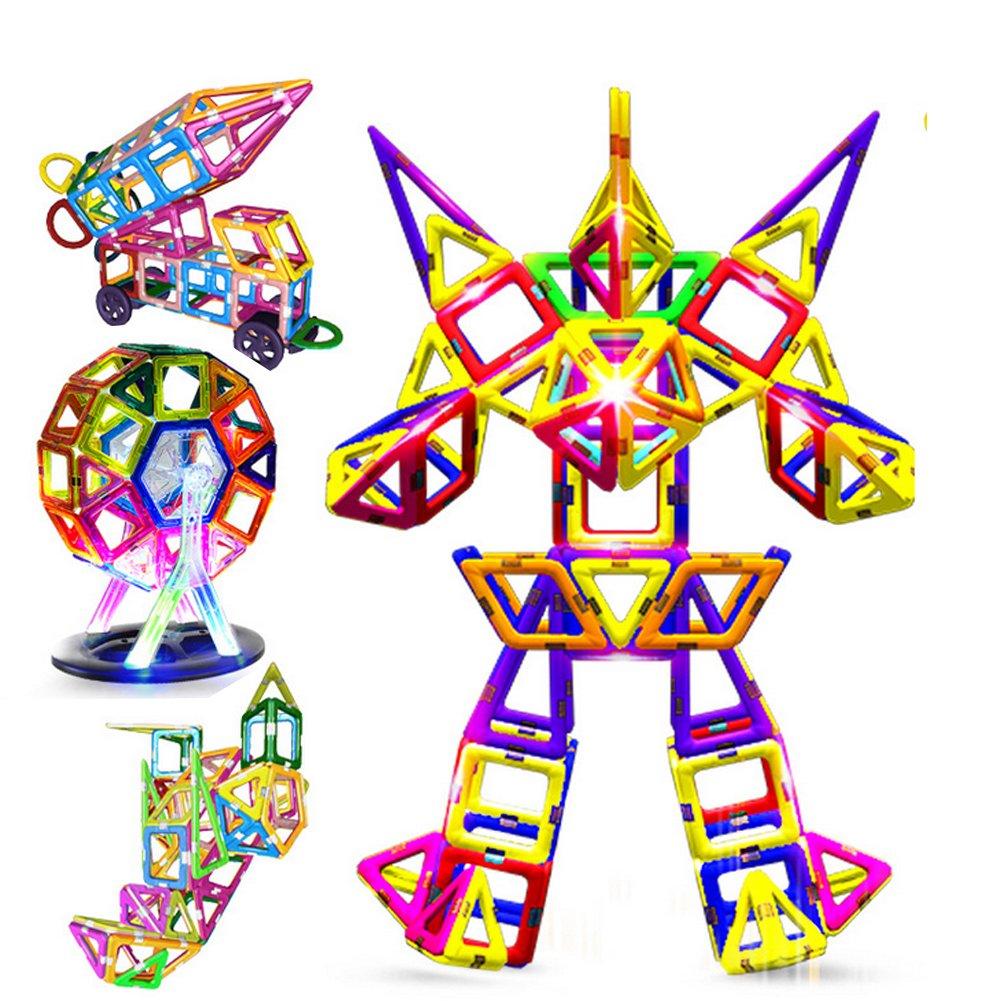 95pezzi creativo magnetico mattoncini per bambine, Magnetic Tiles Building set Preschool Educational Construction kit magnete impilamento giocattoli regalo di Natale per i bambini più piccoli bambini Takefuns