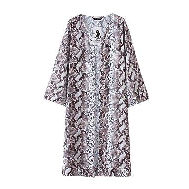 4dc92025f3f37 Amazon.com: Ordee❤ ❤️Womens Sheer Chiffon Beach Kimono Long Cardigan Blouse  Shawl Loose Tops Outwear Brown: Clothing