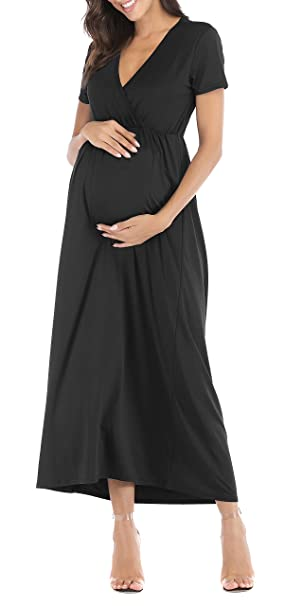 9a52f38bfcdc8 Womens Maternity Dress Maxi Fitted V Neck Ruched Sides Bodycon Dress Black  Small