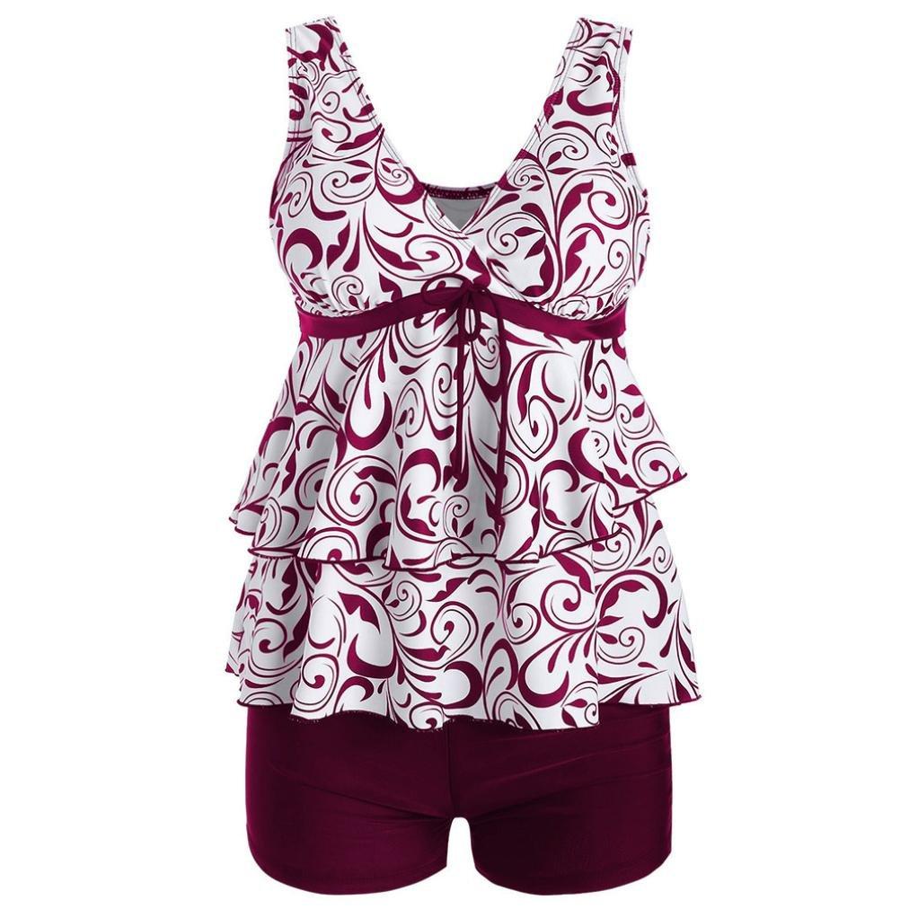 Kimloog Women V-Neck Layered Ruffles Knotted Hem Tankini Swimsuit Floral Print Beachwear with Boyshort (L, Red)