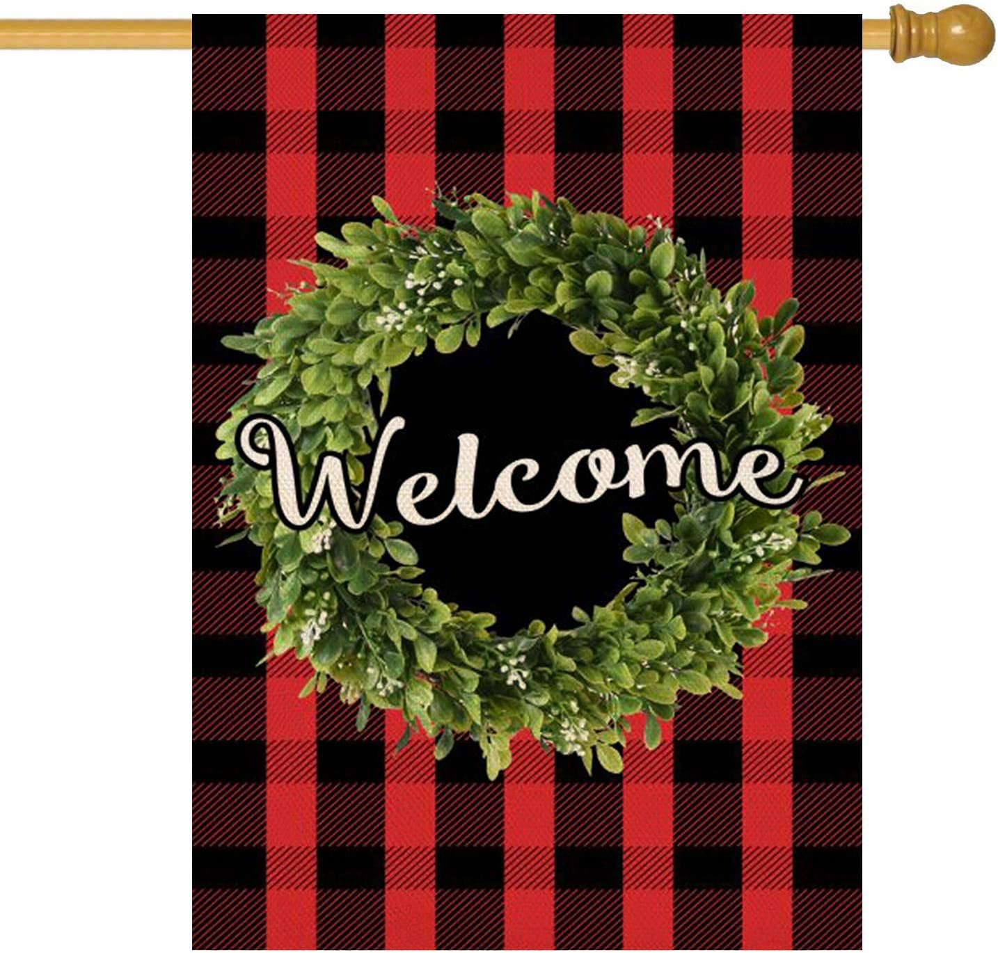 ORTIGIA Welcome Christmas Boxwood Wreath Garden House Flag Vertical Double Sided,Fall Red Buffalo Check Plaid Rustic Farmhouse Burlap Flag Yard Outdoor Decoration,Seasonal Outdoor Flag 28 x 40inch