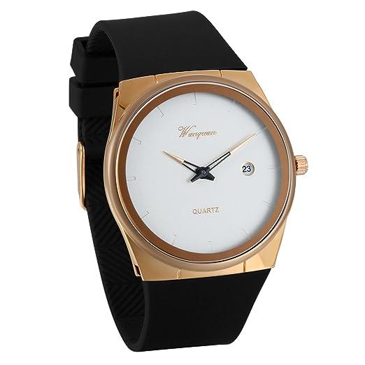 JewelryWe Reloj de Hombre Caballero Negro Dorado, Diseño Retro Sencillo Con Calendario, Analógico Reloj Vintage Con Correa de Silicona, Reloj Ultra Fino ...