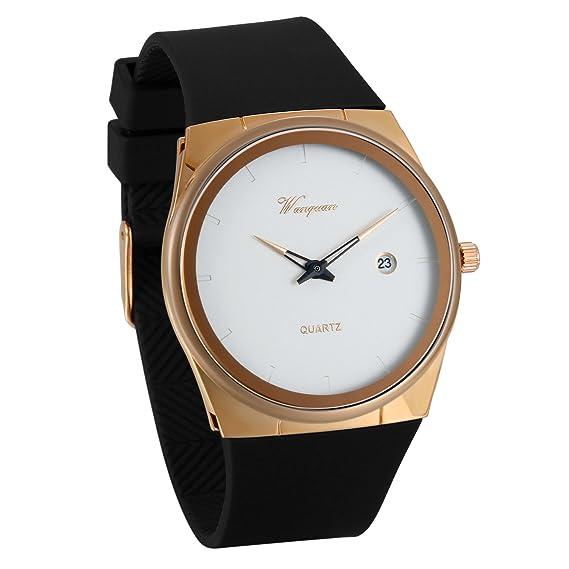 JewelryWe Reloj de Hombre Caballero Negro Dorado, Diseño Retro Sencillo Con Calendario, Analógico Reloj