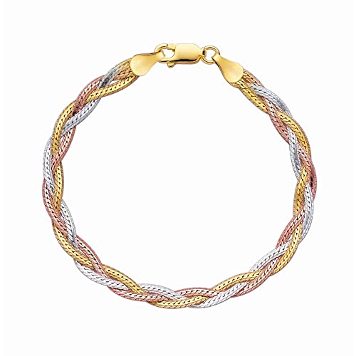 JewelStop Silver Rose Rhodium Yellow Shiny Diamond-Cut Tri-Color Fancy Weave Anklet Bracelet – 10 , 6.1gr