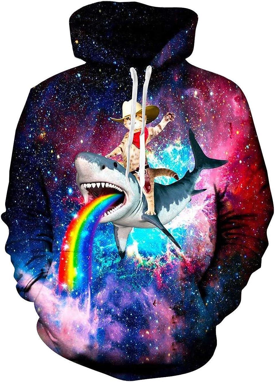 Goodstoworld Unisex Realistic Hoodies Front Pocket Pullover Sweatshirt Hip Hop Hoody Outerwear S-XXL