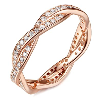 FAIRY COUPLE Rose Gold Color Simulated Diamond Engagement Ring R401 MPD1wL8WT