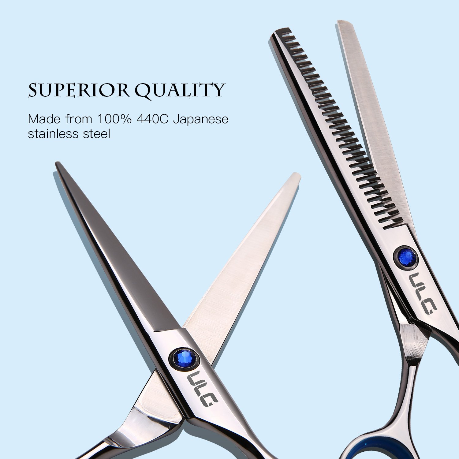 Hair Cutting Scissors Thinning Teeth Shears Set ULG Professional Barber Hairdressing Texturizing Salon Razor Edge Scissor Japanese Stainless Steel 6.5 inch by ULG (Image #2)