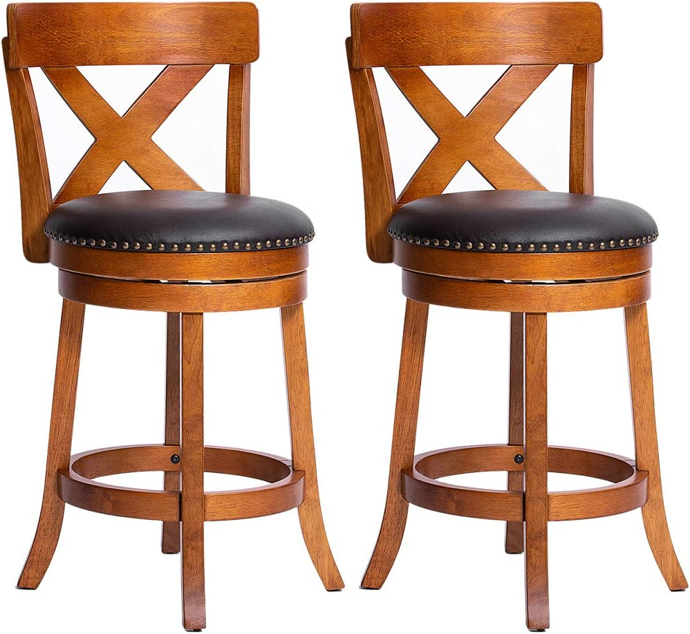 Furgle Set of 2 Swivel Bar Stool 24-inch Solid Wood Upholstered Counter Height Bar Stool PVC Leather Cushioned Seat w Brass Nailhead Studs for Kitchen Island, Counter, Pub or Bar – Light Oak