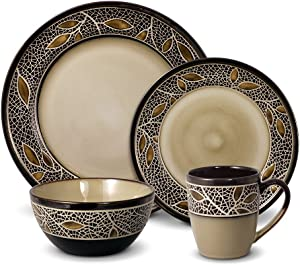 Gourmet Basics Alexandria Dinnerware Set, 16 Piece, Brown, Tan