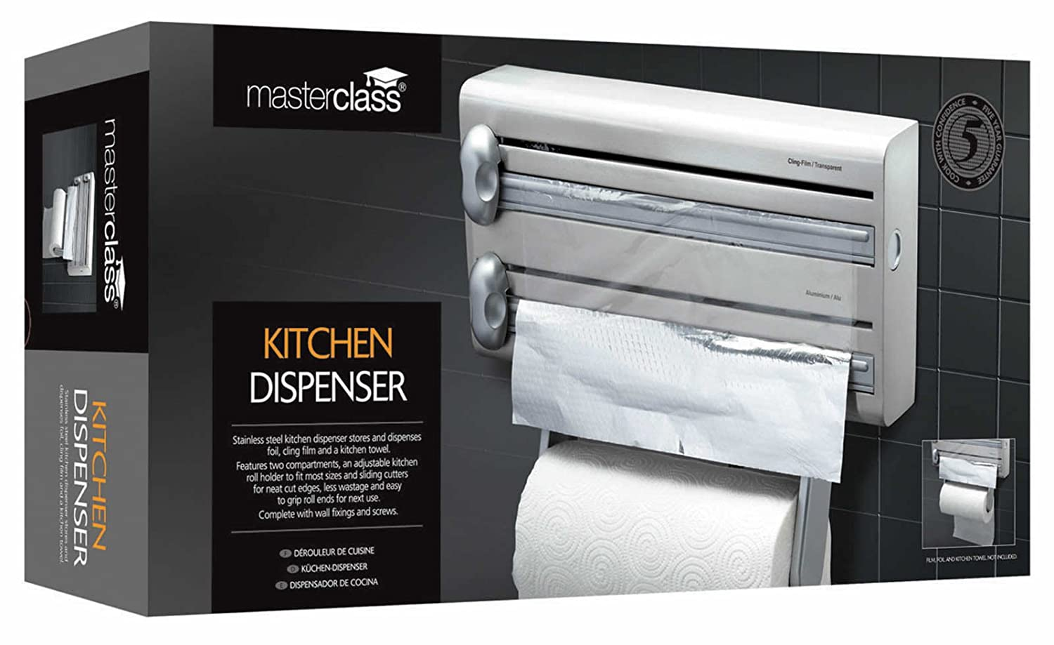 Amazon.com: Master Class Stainless Steel Cling Film, Foil And Kitchen Towel Dispenser: Cookware Accessories: Kitchen & Dining
