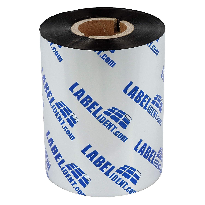f/ür Etikettendrucker 4 Zoll Druckbreite zur Bedruckung von Folienetiketten 80 mm x 300 m Labelident Thermotransfer Farbband Harz schwarz