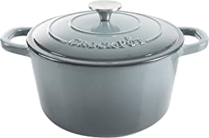 Crock Pot Artisan 5 Quart Enameled Cast Iron Round Dutch Oven, Slate Gray