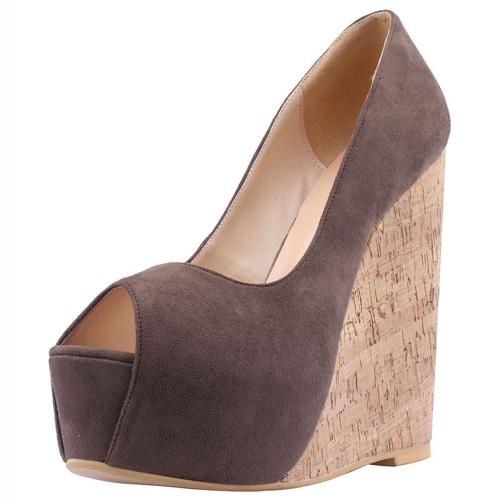 Calaier Mujer Casomething Tacón Ancho 16.5CM Sintético Ponerse Sandalias de vestir Zapatos 42.5|Marrón