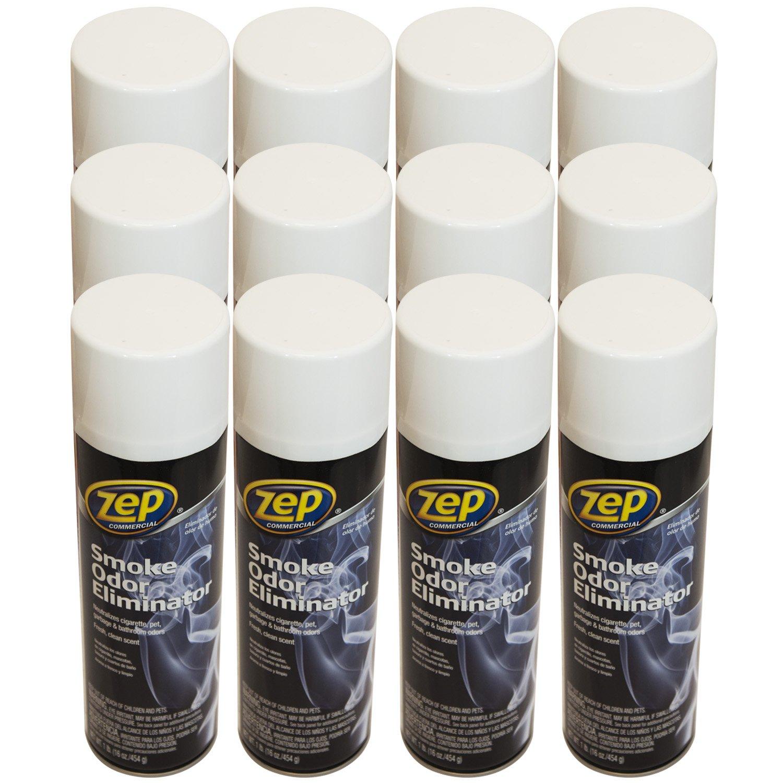 Zep Commercial Smoke Odor Eliminator, Case of 12-16oz. Aerosol Cans, Non-Toxic Formula Removes Nasty Odors by Encapsulateing The Molecules (ZUSOE16)
