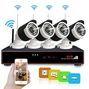 Hi-Tech 4 Channel 1080p HDMI High Definition NVR Wireless Security System with 4pcs 1.0MP Outdoor Indoor IP Surveillance Cameras, Support Smart Phone Remote Monitoring by Android or IOS App, No HDD