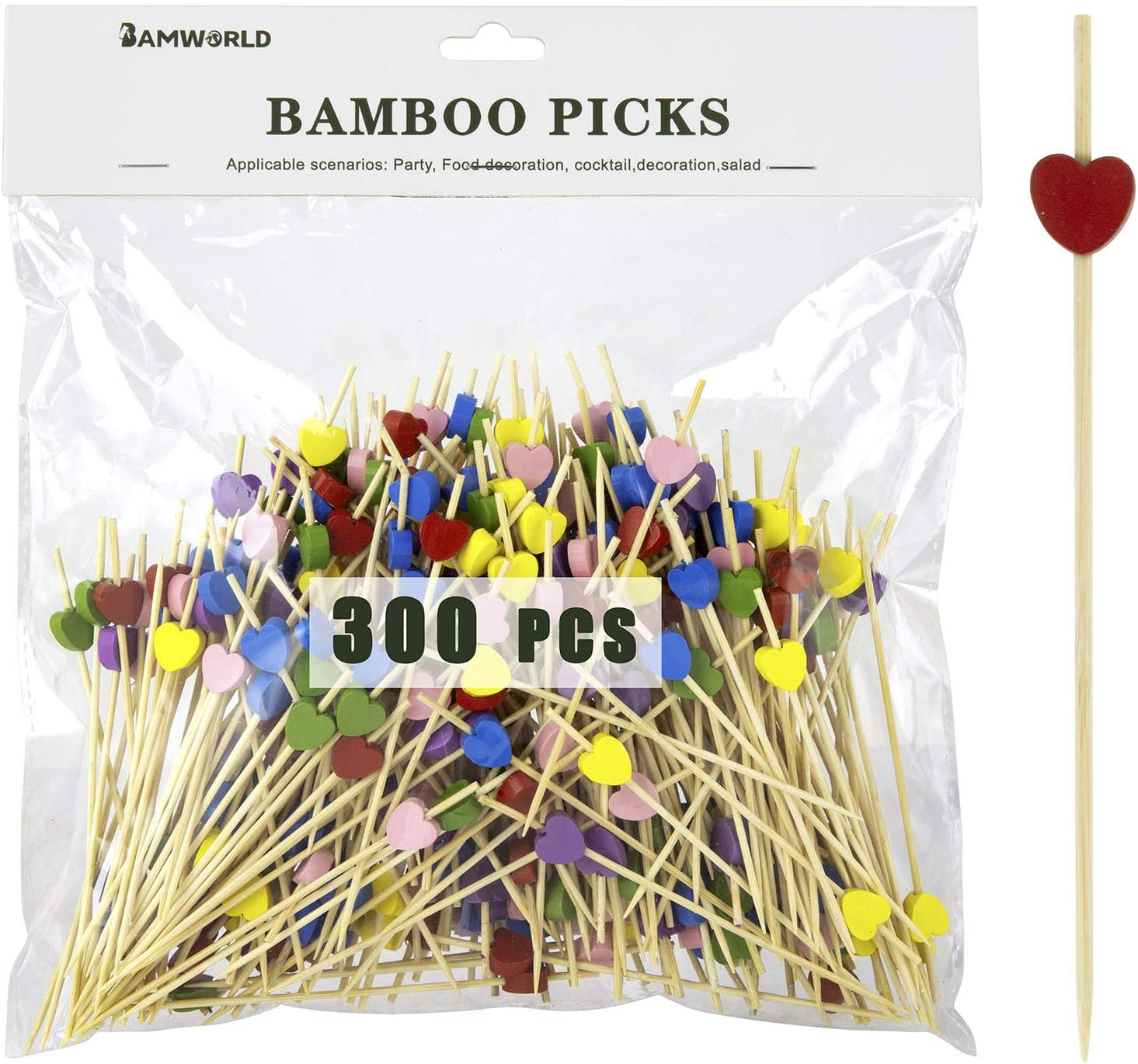 Bamboo Cocktail Picks Bamboo Skewers Food Picks 4.7 Inch Toothpicks with Handmade Design Skewers for Party Fruit and Food Snacks (Love, 300)