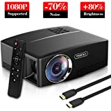 Yaufey 1800 Lumens Projector with Free HDMI Cable, Portable Mini LCD Projector Support HD 1080P Video, Ideal for Multimedia Home Cinema Theatre Entertainment