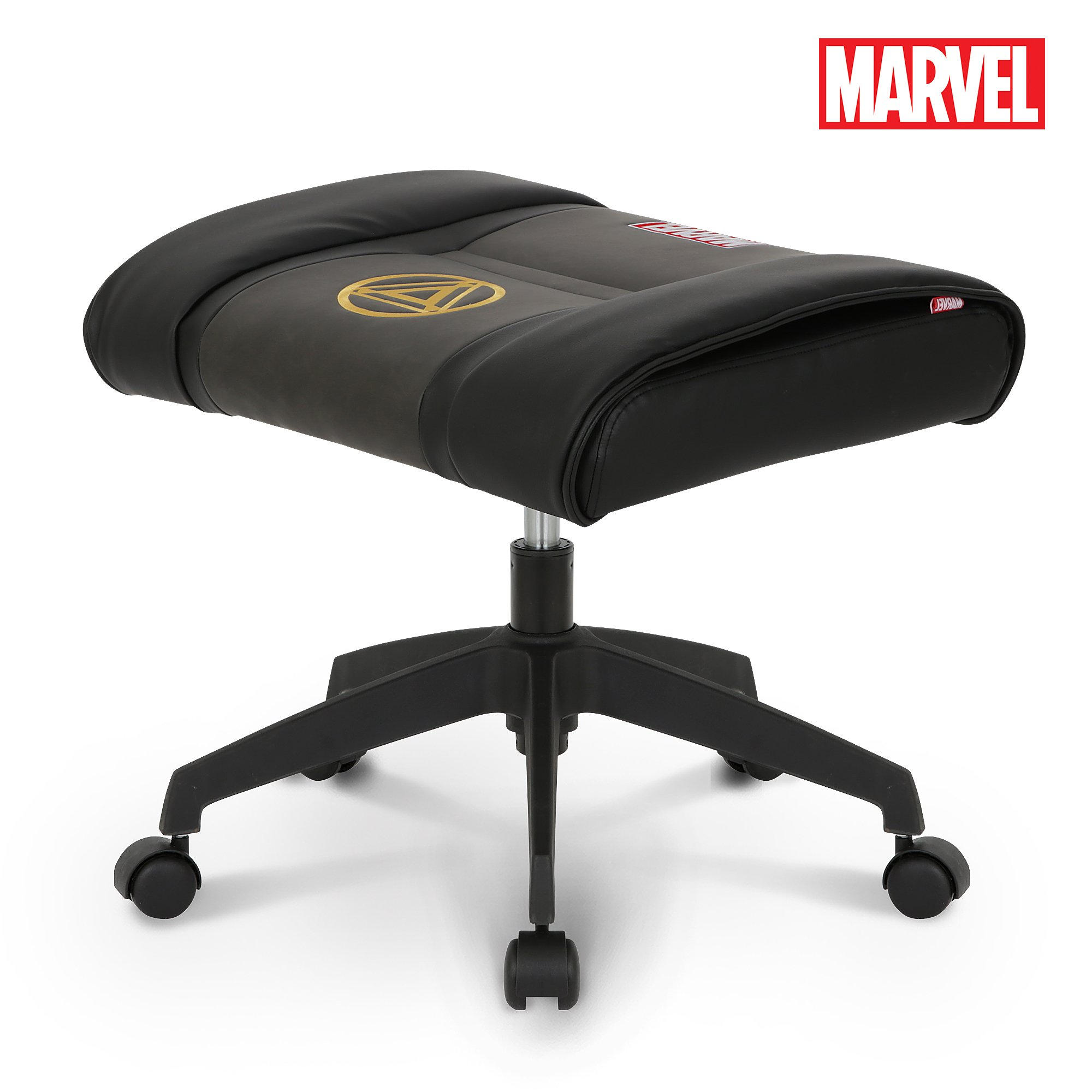 Licensed Marvel Ottoman Foot Rest Seat Stool Makeup Chair w/Wheel : Height Adjustable Office Home Furniture Premium PU Leather, Neo Chair (Iron Man, Black)